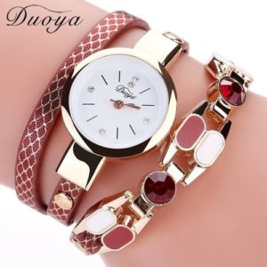 Duoya Women Watches Fashion Gold Stainless Steel Dress
